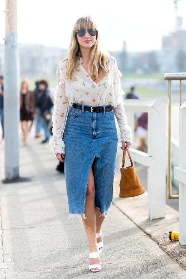 váy jeans dáng dài