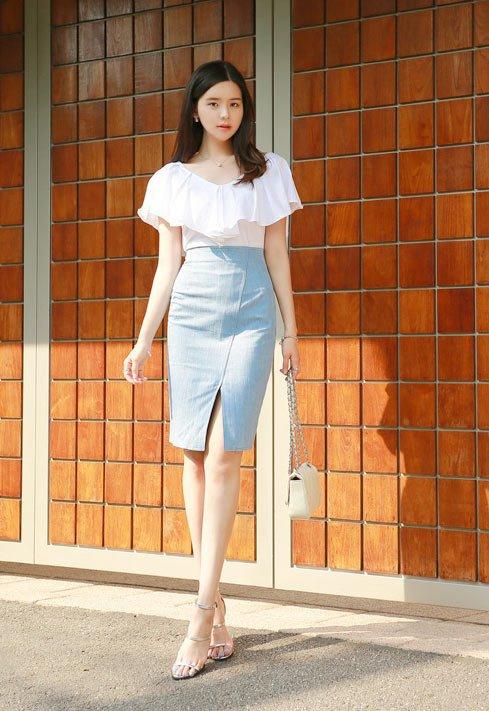 Chân váy bút chì công sở màu Pastel